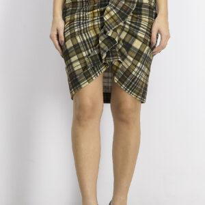 Womens Plaid Ruffle Detail Skirt Brown Combo