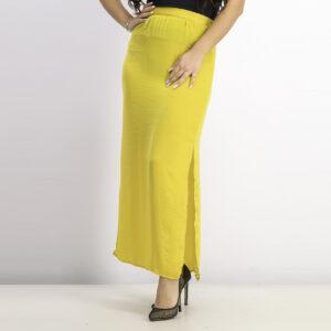 Womens Plain Maxi Skirt Yellow