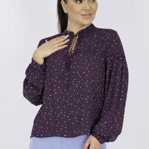 Womens Polka Dots Long Sleeve Top Navy Combo