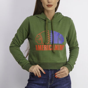 Womens Regular Fit Graphic Print Hoodie Militare