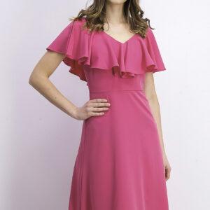Womens Ruffle Front Dress Pink