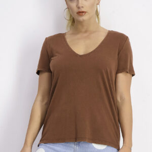Womens Short Sleeve V-neck T-shirt Brown