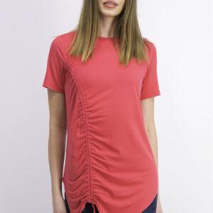 Womens Short Sleeves Side Shirring Detail Top Pink