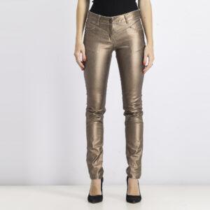 Womens Skinny Metallic Pants Brown