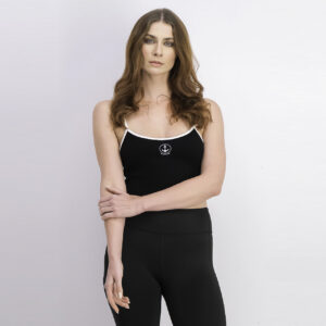 Womens Sleeveless Cropped Top Black/White