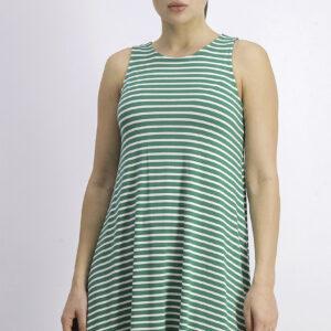 Womens Sleeveless Stripe Dress Green/White