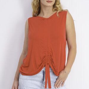 Womens Sleeveless Tie Hem Top Red