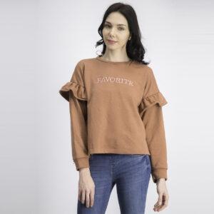 Womens Slogan Embossed Sweatshirt Light Rust