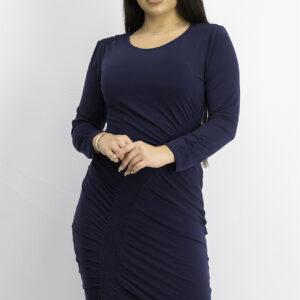Womens Smocked Asymmetrical Midi Dress Indigo Sea