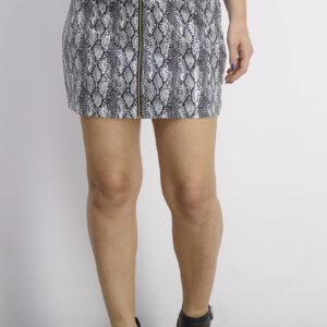Womens Snakeskin Printed Mini Skirt Black Combo