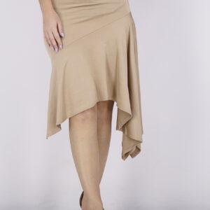 Womens Solid Asymmetrical Midi Skirt Old Rose