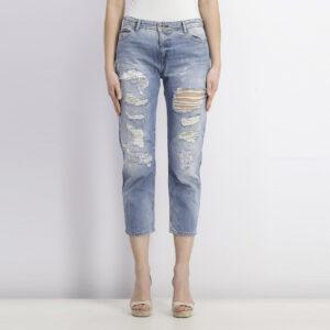 Womens Straight Cropped Lana Rip Jeans Denim Blue