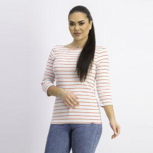 Womens Stripe 3/4 Sleeve Top White Combo