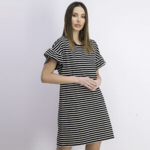 Womens Stripe Ruffle Sleeve Dress Black/Ivory