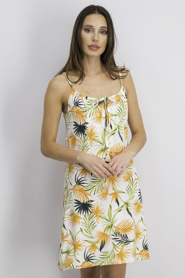 Womens Tie Neck Printed Dress Sleepwear Green/Orange Combo
